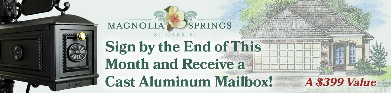 Free Mailbox Promo Magnolia Springs Homes