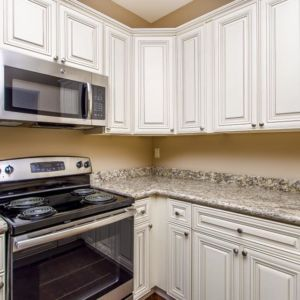 Spacious kitchen and custom cabinets in the Oak model