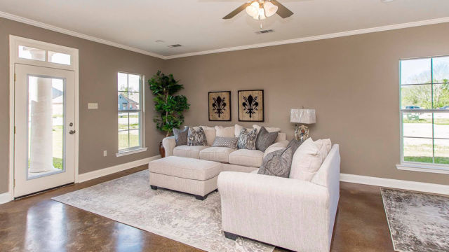 Living room of the Magnolia model home in Magnolia Springs