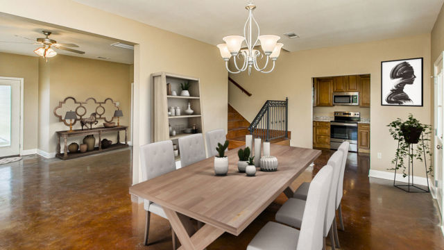 Dining area of the Magnolia model, Virtual Staging